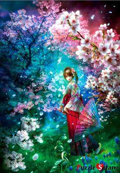 Glow =夢幻 -SHU Mizoguchi #Japanese; woman; parasol; cherry blossoms; birds; art;