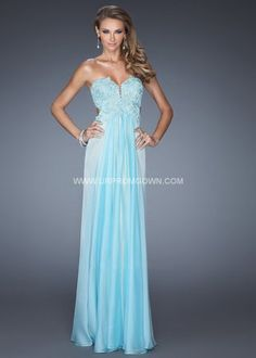 La Femme Side Cutout Prom Gown with Nude Lining 19745 Aqua/Nude