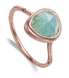 Monica Vinader Siren Aquamarine Stacking Ring ar Harrod's 4752793 -