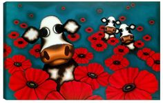 A signed and framed limited edition boxed canvas of 195 by sought-after contemporary artist, Caroline Shotton entitled Poppy Cow Art, Limited Edition Prints, Contemporary Artists, Textile Art, Poppies, Whimsical, Beautiful Pictures, My Arts, Snoopy