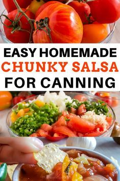 An easy homemade mild chunky salsa recipe for canning. An easy homemade mild chunky salsa recipe for canning. Homemade Chunky Salsa, Fresh Canned Salsa Recipe, Recipe For Salsa, Cooked Salsa Recipe, Garden Fresh Salsa Recipe, Salsa Canning Recipes, Canning Salsa, Homemade Salsa For Canning, Canning Recipes