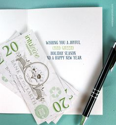 Add your logo and choose an inside message for this eco friendly seed paper money is stand out addition to your business holiday cards reheart Gallery