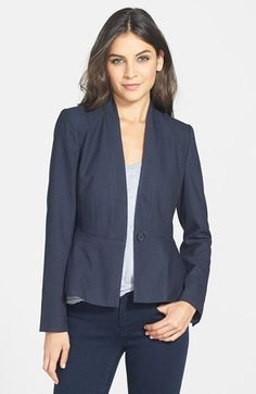 Free shipping and returns on Halogen® Dot Print Peplum Jacket (Regular & Petite) at Nordstrom.com. A textured stretch-woven suiting jacket streamlined with no lapels is tailored with a peplum hem for waist-nipping flattery. A dainty dot pattern charms the design.
