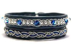 Set of Sami leather bracelets Swarovski wrap bracelet for