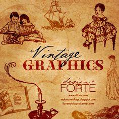 CU/PU Freebie: Vintage Graphics Photoshop Brushes by: makin. cute. blogs
