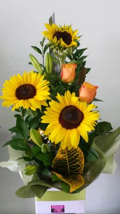 The sun is here! Sunflowers with a mix of other bright flowers to put a smile on someones face! (Sunflowers may be substituted with another yellow flower when not in season) Church Wedding Flowers, White Wedding Flowers, Green Wedding, Pink And White Flowers, Bright Flowers, Sun Flowers, Easter Flower Arrangements, Floral Arrangements, Box Of Sunshine