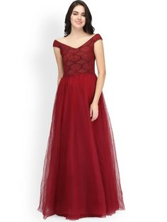 6245b29e Buy Eavan Women Maroon Self Design Maxi Dress - Dresses for Women 2265864 |  Myntra Party