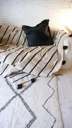 Moroccan POM POM Wool Blanket -  Black Stripes