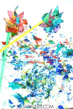 Painting with Pinwheels Art activity for kids