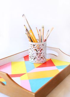 This retro theme inspired DIY Color blocked tray is a fun addition to add to your entertainment decor this summer.