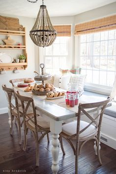 Welcome, friends, and grab a glass of punch! It's Christmas morning brunch, one of my favorite celebrations… If you are heading over from Maison de Pax, welcome! Rachel has such a gorgeous French-inspired Farmhouse style dining room, it's packed with ideas.  We keep things informal and set things up in the breakfast nook. No one …