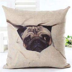 Pug-A-Boo Throw Pillows