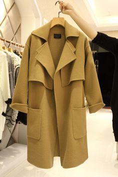 Ucuz Doğrudan Çin Kaynaklarında Satın Alın: yeni 2015 moda gevşek rahat kış kadın ceket ince yaka deve yünü kat uzun kollu kadınlar için trençkot palto xq895