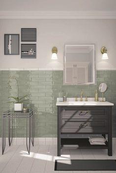 Black Tile Bathrooms, Dark Green Bathrooms, Black And White Tiles Bathroom, Tiled Walls In Bathroom, Bathroom Green, Boho Bathroom, Bathroom Inspo, Modern Bathroom, Bathroom Ideas