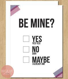 Valentine Card: Be Mine, Funny, Love, Anniversary, Wedding, Washi Tape. $4.00, via Etsy.