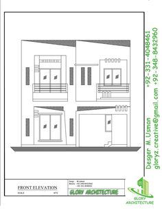 Town House Plans, Basement House Plans, House Elevation, Front Elevation, 5 Marla House Plan, Exterior Design, Interior And Exterior, Indian House Plans, Elevation Drawing