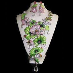 Lotus Leaf Water Lily Frog Rhineston Crystal BUD Dragonfly Drop Necklace Earring | eBay