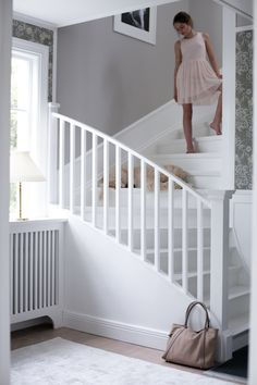 House of Philia trappa House Of Philia, White Staircase, Staircase Design, Staircase Makeover, House Stairs, House Entrance, Scandinavian Home, Interior Inspiration, Living Room Designs
