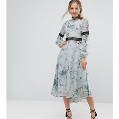 Hope & Ivy Printed Open Back Midi Dress With Lace Inserts (6.280 RUB) ❤ liked on Polyvore featuring dresses, multi, floral pattern dress, floral print dress, chiffon midi dress, pencil dresses and flower pattern dress