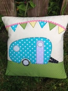 Handmade Caravan Cushion Shabby Chic Vintage Style Bunting Country | eBay