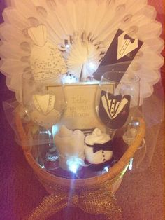 Light up Wedding Gift Basket in black & white by GiftBasketsbyMel Wedding Gift Baskets, Wedding Gifts, Coupon Codes, Light Up, Black And White, Birthday, Shop, Gift Basket, Wedding Thank You Gifts