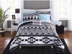 Queen-Comforter-Set-Bed-In-Bag-Bedding-Sheets-Southwestern-Black-White