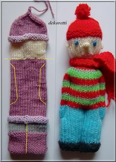 Baby Knitting Pattern I wanted to knit for a long time. You simply knit a hose, I have … Baby Knitting Patterns, Knitted Doll Patterns, Knitted Dolls, Crochet Dolls, Crochet Patterns, Knit Crochet, Simply Knitting, Easy Knitting, Loom Knitting