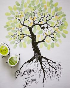 Rustic Wedding Thumbprint Tree Guest Book