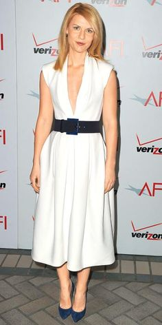 Need to do the simple white and black with navy suede pumps... Claire Danes in Donna Karan, 2012