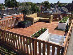 Dakterras Oudwijk Utrecht is part of Roof garden - Rooftop Design, Terrace Design, Patio Design, Rooftop Garden, Rooftop Terrace, Diy Pergola, Pergola Kits, Pergola Ideas, Wooden Patios
