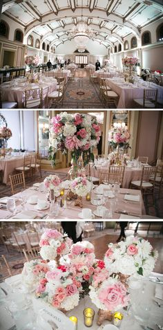 An elegant pink ballroom wedding we love! {Ron Miller Photography}
