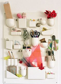 Lightbulb moment - what if I got some magnetic containers and did this to the back of my medicine cabinet?