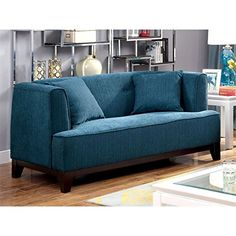 Furniture of America Waylin Tufted Fabric Loveseat in Dark Teal * Learn more by visiting the image link.