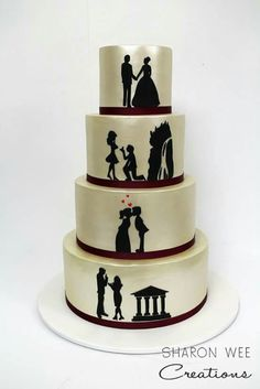 Hand cut silouette cake