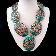 Green and Red Enamel, Necklace, Gold palted