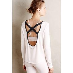 Alo Yoga Fleeced Cross-Back Top featuring polyvore, fashion, clothing, tops, pink, pink top, fleece tops, cross back top, criss cross back top and alo yoga