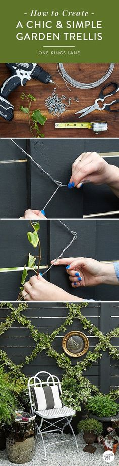 Gardening Roses Learn how to create a chic and simple DIY ivy-covered garden trellis, just in time for summer outdoor entertaining, right here on the One Kings Lane Style Guide! - Style guru Megan Pflug shows us how to up our summer garden game Garden Arbor, Diy Garden, Summer Garden, Dream Garden, Garden Projects, Balcony Garden, Brick Projects, Garden Guide, Diy Trellis