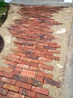 awesome old bricks, pea gravel and rocks – this pathway design is both eye-catching and … Architectural Landscape Design Source by Stepping Stone Pathway, Rock Pathway, Gravel Pathway, Flagstone Walkway, Brick Walkway, Front Yard Walkway, Stone Pathways, Brick Sidewalk, Pea Gravel Patio