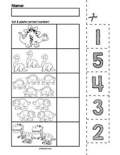 $1 | Teach counting skills with dinosaurs! Great for teaching 1:1 counting skills and number recognition for numbers 1-5. No prep and great for math centers! #preschool #preschoolers #preschoolactivities #kindergarten #Homeschooling #mathcenters #dinosaur