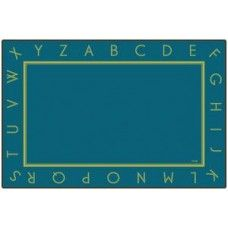 Kids Rugs: Just the Alphabet - Blue - 8' x 12' Rectangle