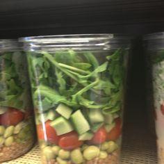 Salad option: lettuce, avocado, grape tomatoes, Lima beans, quinoa.
