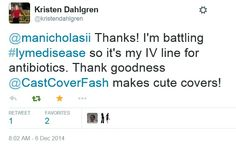 NBC Today Show reporter Kristen Dahlgren shares how thankful she was for PICC Cover Fashions armband sleeve via Twitter (Dec. 6, 2014).