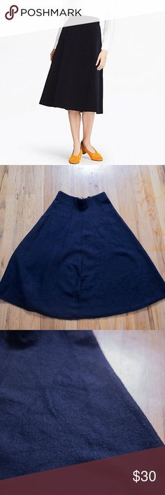 Uniqlo Navy Felt Flare Circle Midi Skirt Uniqlo felt midi skirt, warm heavy fabric perfect for cooler months. Never worn because I couldn't figure out how to wear it to fit in with my style. Uniqlo Skirts Midi