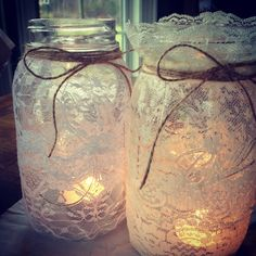 My very first Pinterest creation! Country. Mason candle jars! Use lace on the outside. In love with them, my new favorite decoration!