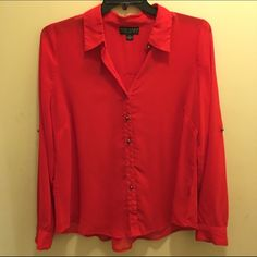 PLUS SIZE FOREVER 21 Red Button Down Worn once, amazing condition. Red button down plus size (though could probably fit a regular sized XL),  blouse from Forever 21. Sheer red fabric with golden/brass buttons down front, on collar, on wrists, and elbows. Forever 21 Tops Button Down Shirts