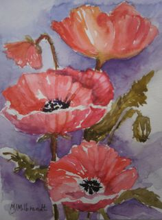 poppies  by mj milbrandt #watercolor # floral