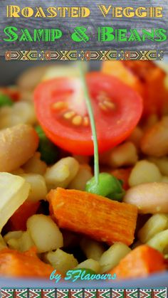 Samp (hulled, cracked corn) & Beans combine with roasted veggies, peas, orange peel & sundried tomato for a novel & exciting taste adventure. Candied Orange Peel, Vegetarian Main Dishes, Roasted Butternut, New Flavour, The Ordinary, Onions, Tomatoes, Carrots, Side Dishes