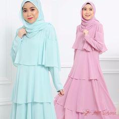 IN STOCK | Inayah Dress in  Creme De Mint & Rose Blush . . Availability| S & M  Price | RM199 . www.byfatinsyhana.com.my