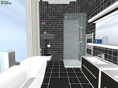 YES OR NO - Listen to the radio in the bathroom? :)  3D floor plan for black and white contemporary bathroom designed in RoomSketcher by TINY ROOMS http://planner.roomsketcher.com/?ctxt=rs_com