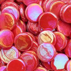pr107i - Chili Red - IridescentPennyRound - Kismet Mosaic - 1